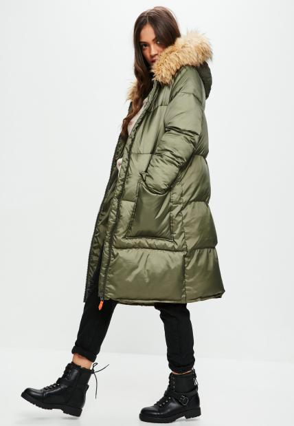 khaki-oversized-faux-fur-hood-puffer-jacket